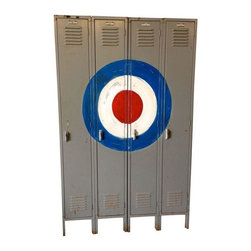 """Used Vintage Lockers with Bulls Eye - Really cool set of vintage lockers with custom bulls eye graphic. These are actually two set of lockers: numbers 9 and 10 are a joined pair and numbers 11 and 12 are second joined pair. They can be used as a set of four or separated into two. The bull's eye looks great both ways! All are clean and sturdy with doors that open and close easily. The interiors are open style - each with one shelf up high, some with a rod below and the all have between one and three hooks. You could also add shelves to accommodate your own storage needs. Penguin is not included!    Each individual locker is 12"""" wide. The connected pair of lockers is 24"""" wide the entire set is 48"""" W."""