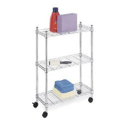 "Whitmor - Supreme 3 Tier Laundry Cart - Whitmor Supreme 3 Tier Laundry Cart - Dimensions: 9.13"" x 22.5"" x 31.75"" - Heavy duty  chromed finish.  Looking wheels included.  This item cannot be shipped to APO/FPO addresses. Please accept our apologies."