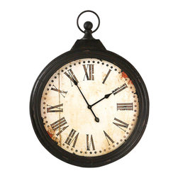 Kathy Kuo Home - Rustic Iron Large 'Pocket Watch' Wall Clock - Evoke a sense of the old world with this eye-catching pocket watch style wall clock.  Made of antiqued iron with a black crackle finish and matching metal clock hands, the face of this clock is screen printed with Roman numerals and natural-looking distress marks to add to the design.  Perfect for the rustic interior or country home, this battery-operated clock will keep today's time without detracting from old-style décor.