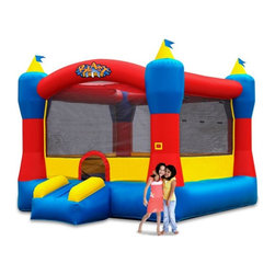 Blast Zone - Blast Zone Magic Castle 13 Foot Commercial Bounce House Multicolor - MAGIC CASTL - Shop for Tents and Playhouses from Hayneedle.com! Maybe if the castles of yore had been as fun as the Blast Zone Magic Castle 13 Foot Commercial Bounce House kings and queens wouldn't have been so serious all the time. Made from durable commercial-grade vinyl this clever inflatable castle has a 13 ft. square bouncing platform that accommodates up to eight lively kids ages 3-10 years. Perfect for birthday parties events and rec centers this classic bounce house has a retractable roof to provide refreshing shade on sunny days and a gently sloping entrance/exit ramp. The blower is included. Lead-free products: A note from Blast ZoneRecent allegations by the state of California against producers and distributors of inflatable bounce products concerning illegal lead concentrations are of great concern to us and our customers. Blast Zone products are not included in these allegations. All Blast Zone products meet or exceed US and international laws and standards and contain no lead in the material printing substrate or any components whatsoever. Blast Zone diligently adheres to testing standards to ensure a safe product for the consumer and provides items retailers can be confident stocking and selling. While Blast Zone does produce commercial inflatables and Blast Zone residential products utilize a substantial amount of commercial-grade materials our commercial vinyl also meets or exceeds these same international standards for lead phthalates and other contaminants and heavy metals. Why Blast Zone?With their main focus on safety Blast zone manufactures the strongest bouncers in the industry and creates the most exciting designs available. Using 100% commercial-grade impact surfaces the material used in Blast Zone's bouncers is nine times stronger than what's used on average inflatables. Bounce floors and slides use large seamless commercial material so they have fewer seams with less chance of separation. Blast Zone bouncers are reinforced in stress areas to make them twice as durable as typical inflatables and they use X-Weave material with extremely high tensile strength in all directions. Each Blast Zone inflatable is inspected seven times during construction to ensure it meets the strictest quality and safety standards. Their safety netting is twice as thick as the industry standard and soft so it won't scratch or cut bouncers. Each Blast Zone product is designed with your child's safety in mind. They incorporate balanced product distribution safe climbing surfaces safe slide heights and more. Finally they provide breathable storage cases. Blast Zone's carrying cases allow moisture to dissipate from inflatables rather than keeping it locked inside leading to mildew. About Blast ZoneBlast Zone has been making safe toys for kids all over the world since 1996. For over a decade they've designed and manufactured compliant hazard-free toys for major licensors and retailers including Disney Warner Brothers Dreamworks Marvel Porchlight Entertainment and more. The same principles of quality and safety that have applied to their toys also apply to Blast Zone inflatables. The mission of Blast Zone inflatables is simple: provide safe fun affordable inflatables and make kids dreams come true.