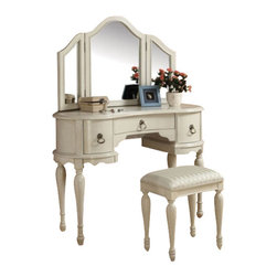 "Acme - Trini 3-Piece Off White Finish Wood Make Up Dressing Table Vanity Set - Trini 3 piece off white finish wood make up dressing table vanity set with stool and tri-fold mirror. This set includes the vanity with 3 drawers with turned legs and classic styling, the tri-fold mirror with curved tops and the padded stool with turned legs. Vanity measures 48"" x 19"" x 34""H. Mirror measures 42"" x 27"". Stool measures 18"" x 13"" x 20""H. Some assembly is required."