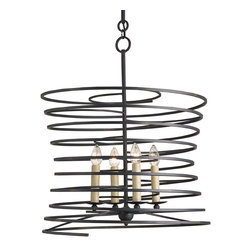 """Currey & Company - Currey & Company Nebula Chandelier - Strikingly sinuous, the contemporary Currey & Company Nebula chandelier radiates captivating panache. Its wrought iron frame spirals around four lights for a truly captivating presence. 26"""" Dia x 31""""H; Accepts 60W max bulb (not included)"""