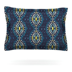 """Kess InHouse - Suzie Tremel """"Ogee Lace"""" Navy Blue Pillow Sham (Woven, 30"""" x 20"""") - Pairing your already chic duvet cover with playful pillow shams is the perfect way to tie your bedroom together. There are endless possibilities to feed your artistic palette with these imaginative pillow shams. It will looks so elegant you won't want ruin the masterpiece you have created when you go to bed. Not only are these pillow shams nice to look at they are also made from a high quality cotton blend. They are so soft that they will elevate your sleep up to level that is beyond Cloud 9. We always print our goods with the highest quality printing process in order to maintain the integrity of the art that you are adeptly displaying. This means that you won't have to worry about your art fading or your sham loosing it's freshness."""