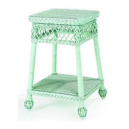 7128 Martha's Vineyard Wicker Side Table - Besides this fabulous color, What I love about this little wicker side table is that woven apron. It's very Gray Gardens before the house fell apart, in the Drew Barrymore HBO version.