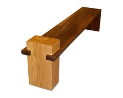 Rotsen Furniture - Fazenda Bench - Contemporary solid wood bench made with a single slab of walnut and base in teak.