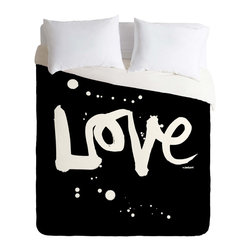 DENY Designs - DENY Designs Kal Barteski Love Black Duvet Cover - Lightweight - Turn your basic, boring down comforter into the super stylish focal point of your bedroom. Our Lightweight Duvet is made from an ultra soft, lightweight woven polyester, ivory-colored top with a 100% polyester, ivory-colored bottom. They include a hidden zipper with interior corner ties to secure your comforter. It is comfy, fade-resistant, machine washable and custom printed for each and every customer. If you're looking for a heavier duvet option, be sure to check out our Luxe Duvets!