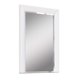 White Line Imports - Mirror in High Gloss White Finish - 2 in. frame thickness. Wipe clean with a dry cloth. Stainless steel stripe detail. No assembly required. 36 in. W x 48 in. H (69 lbs.)