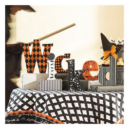 """Grandin Road - Wicked Halloween Letters - Grandin Road - Set includes six individual wooden letters. Each features a different whimsical pattern. Miniature witch's hat included. Sizes range from 4-3/4""""H to 8-1/2""""H. Share a bewitching message from your Halloween-themed mantel or tabletop tableau with our enchanting """"Wicked"""" block letters. Each decorative letter is a separate block, so you can arrange the word however you see fantastically fit: line them up, stagger them, stack them on top of books for even more variation in height, then top your favorite letter with the included miniature witch's hat. However and wherever you display them, they'll convey a most charming message.  .  . Miniature witch's hat included .  . A Grandin Road exclusive."""