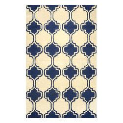 nuLOOM - nuLOOM Hand-tufted Moroccan Trellis Wool Rug, Navy, (5' X 8') - Material: 100% Wool