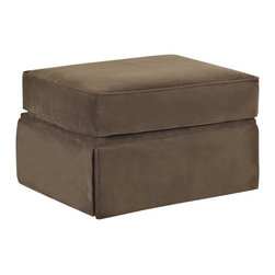 "Klaussner - ""Klaussner Woodwin Ottoman, Chocolate"" - ""With its signature blend of quality, value and style, our Woodwin sofa collection features a dressmaker skirt, coordinating arm pillows and traditional rolled arms. Dimensions: 28"""" long x 23"""" deep x 19"""" high; Weight: 32 pounds"""