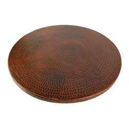 Premier Copper Products - 20 in. Hand Hammered Copper Lazy Susan - Configuration: Round. Design: Hammered Copper Surface. Color: Oil Rubbed Bronze. Easy To Clean and Maintain. Includes Premium Swivel Base. Hand Made. Composition: 99.7% Pure Recycled Copper. Lead Free (less than .01%). Patina: Fired. Warranty: Limited Lifetime. 20 in. Diameter x 1.5 in. H ( 12 lbs. ). Product SpecificationsUncompromising quality, beauty, and functionality make up this Hand Hammered Copper Lazy Susan. Green Recyclable Products like Copper Sinks are a must have in today's modern home. This product is sure to impress your guests and satisfaction is always guaranteed.