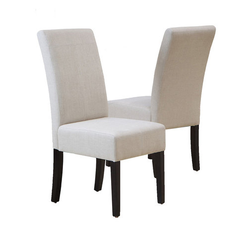 Great Deal Furniture - Stella Natural Linen Fabric Dining Chair, Set of 2 - Definitely not your grandma's table linens. These stylish linen covered dining chairs take a modernist approach to the table. Each one is slim enough to fit multiple family members around the table and striking enough to stand on their own, as an accent or desk chair.