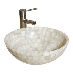 """The Allstone Group - L-VMR-SR-16W Polished #16 Vessel Sink - Natural stone strikes a balance between beauty and function. Each design is hand-hewn from 100% natural stone.  Allstone mosaic vessel sinks are our only product that is not carved from one single piece of stone.  Onyx was used in Egypt as early as the Second Dynasty to make bowls and other pottery items. Onyx is also mentioned in the Bible at various points, such as in Genesis 2:12 """"and the gold of that land is good: there is bdellium and the onyx stone"""", and such as the priests' garments and the foundation of the city of Heaven in Revelation."""
