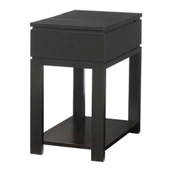 "Hammary - Chairsides Chairside Table - Black - Enjoy the best of style without sacrificing the best in functionality. That's exactly what you'll receive when you select from Hammary's assortment of extraordinary Chairside tables - the perfect complement in any living area.Hammary's Chairside choices are practically endless - from traditional to contemporary designs and featuring a broad spectrum of finishes and numerous display and storage options.Hammary Chairsides are constructed from quality hardwoods and select wood products. Finishes range from black to handsome cherry, maple and oak-colored tones. Best of all, Hammary's Chairsides feature a variety of display shelves, drawers, pull-out laminated trays, magazine racks and even iPod storage.Go home, relax in your favorite chair and enjoy convenient, ample storage right by your side. Hammary Chairsides provide an easy reach for your coffee cup, favorite magazines and even the remote control. They are flawlessly accomodating and exceptionally easy to enjoy.. Chairsides Chairside Table - Black; Lift-Lid Front Storage; Lift-lid rear storage area with wire management & 3 plug outlet; Black finish; Dimensions: 14""W x 22""D x 24""H"