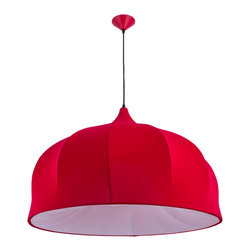 Hoop Skirt Pendant in Red - Small - Modern and sophisticated, the Hoop Skirt Pendant delights the visual senses in any room. Its matte-finish fabric covers a wire frame that not only creates a supportive structure, but also showcases the gorgeous piping details that encircle it. Whether you hang it over the breakfast table, kitchen counter, in the bedroom, or foyer, you're sure to be delighted under its light.