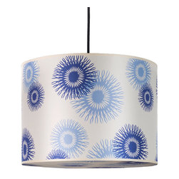 Lights Up! - Meridian Large Pendant Lamp, Blue Cornflower Silk - Aqua, baby, royal, sky — no other color compares to the silken shades of cornflower blue on this large pendant lamp. Bring a sleek, modern touch into your office or living room with a lamp whose floral pattern proves that nature knows great design.