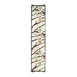 """Meyda - 9""""W X 42""""H Magnolia Stained Glass Window - This nature inspired window is an original meydatiffany design with magnolia branches featuringwhite and  pale amber petalled blossoms, againsta clear textured background glass. The handcraftedwindow is created with 337 pieces of stained art glass utilizing the copperfoil construction process, and framed in antiqued brass. This beautiful tiffany style window comes with hooks on all four corners so it can hang either horizontally or vertically. Hanging chains, mounting brackets and  screws are included."""