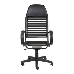 Eurostyle - Bungie Flat Executive High Back Chair-Black/Graphite Black - Flat bungee cords on back; 11 sets