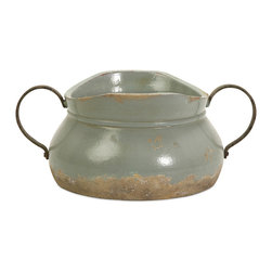 iMax - Calista Short Bowl with Metal Handle - A pale aqua rustic full bodied ceramic bowl has a natural quality like a handmade collectible piece from ancient civilizations. This piece is highly versatile and well suited for a variety of decor.