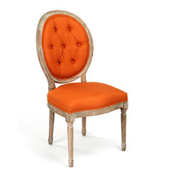 Kathy Kuo Home - Pair Madeleine Oval Tufted Orange Linen Limed Oak Dining Side Chair - Brighten your room and outlook with this warm orange linen tufted oak chair. A limed grey finish details the intricate woodwork on the legs and frame. The luxuriously cushioned back invites guests to relax and enjoy their stylish surroundings.