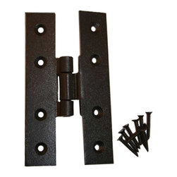 """Renovators Supply - Cabinet Hinges Black Wrought Iron H Door Hinge 4"""" H x 3/8"""" Offset - H Hinge. These outstanding hinges crafted wrought iron are popular on cabinet doors, armoires, and gates. A fabulous detail for a modern sleek look or for that Old Colonial charm. Affordably reclaim old cabinet doors or update a piece of furniture or bedroom armoire. Our exclusive RSF coating protects this product for years to come. Mounting hardware included."""