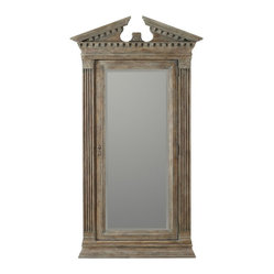 Hooker Furniture - Floor Mirror - Don't stop buying jewelry just because you're running out of storage space. Go for Baroque with this tall cabinet washed in old world grandeur. With fluted columns and beveled mirror door, it opens to reveal space for more jewelry storage than Tiffany's and takes up less floor space than one of their famous blue boxes.