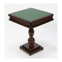 Cambor - Italian Made 4-in-1 Pedestal Game Table w Mahogany Finish - Chessmen and checkers not included. Made of Wood. Walnut/mahogany color. Backgammon, Chess, Checkers and Card Table from Italy. Handcrafted by Italian craftsmen of the finest quality Woods. Dice and 1 Wooden cup included only. Backgammon and Chess inlaid with Briarwood/Ma. Chessboard squares: 2 in.. 23 in. W x 27 in. H