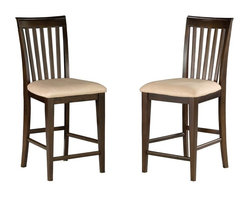 Atlantic Furniture - Atlantic Furniture Mission Pub Chair in Antique Walnut (Set of 2) - Atlantic Furniture - Dining Chairs - AD771204 - The Atlantic Furniture Mission Pub Chairs are constructed from Eco-friendly solid hardwood and have an elegant Antique Walnut wood finish. This set of two pub chairs feature a vertical slat back design and an Oatmeal colored seat cushion. The Mission Pub Chairs are perfect for a casual dining room setting.
