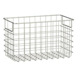 Large Wire Basket - Wire baskets are the perfect solution for bath and kitchen products. These look great when you add a fabric liner to maximize the space inside. They would be perfect for cabinets or countertops.