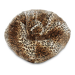 ABC Lifestyle - Fur Bean Bag in Leopard Print - Durable fur fabric and double stitched seams for durability. Ergonomic seating position. Great for reading, playing video games, watching TV, relaxing. Overall Dimensions: 32 in. L x 30 in. W x 13 in. H (6 lbs)