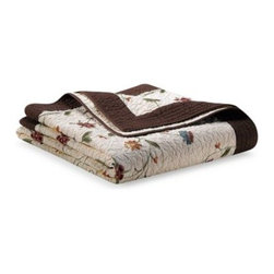 Nostalgia Home - Ambria Chocolate Quilt - Good-looking quilt has a sophisticated multi-color chain stitch embroidery framed beautifully by a chocolate border. The rich coloring adds warmth while the vermicelli stitching brings old world charm.