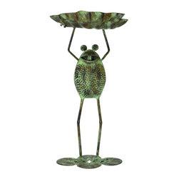 Benzara - Metal Bird Feeder Frog Rustic Look - If you are looking for low cost but rare to find elsewhere utility- decor item to bring extra galore that could refresh the decor appeal of short spaces in garden or porch, beautifully carved 64510 METAL BIRD FEEDER may be a good choice.