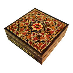 Mohavy - Unique Handmade New York Mother of Pearl Mosaic Inlaid Wood Jewelry Box - Black,white, green, red, gold, and brown are the colors in this beautiful handmade box and interior is lined with red fabric.