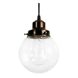 n/a - Biddeford Ii. Pendant Light Clear Globe, Oil Rubbed Bronze - Beautiful clear-blown glass, highlighting the Edison squirrel cage bulb available in my shop. The light is soft enough for your eyes, yet illuminates the space nicely, perfect for a bath or kitchen.