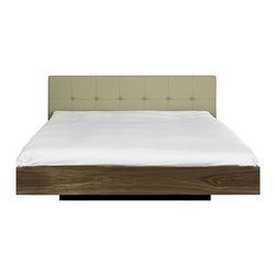 Tema Home - Float Queen Size Bed W/Upholstered Headboard + Mattress Support, Grey Leather , - If sleek modern design is your style, here's one choice you won't have to sleep on. You know just by looking that this impeccable piece, with its luxe yet lean leather headboard, belongs in your bedroom.