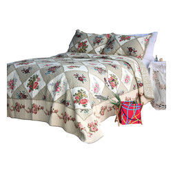 Blancho Bedding - Secret Garden 100% Cotton 3PC Floral Patchwork Quilt Set  Queen Size - Set includes a quilt and two quilted shams (one in twin set). Shell and fill are 100% cotton. For convenience, all bedding components are machine washable on cold in the gentle cycle and can be dried on low heat and will last you years. Intricate vermicelli quilting provides a rich surface texture. This vermicelli-quilted quilt set will refresh your bedroom decor instantly, create a cozy and inviting atmosphere and is sure to transform the look of your bedroom or guest room.