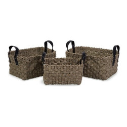 """IMAX - Natural Seagrass Baskets with Handles - Set of 3 - Set of Three, Robust Woven Natural Sea grass Baskets with Faux Leather handles Item Dimensions: (12-13-14""""h x 14-15.75-17.75""""w x 10-12-14"""")"""