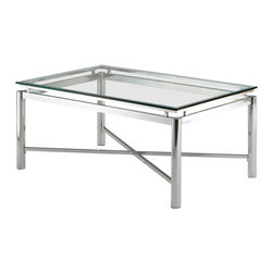 Steve Silver Furniture - Steve Silver Nova Cocktail Table - Bring perfection and brilliance to your home with the Nova tempered coffee table. A glass top and chrome x pattern base will make this collection your rooms centerpiece for years to come.