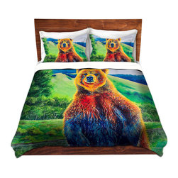 DiaNoche Designs - Duvet Cover Microfiber by Teshia - The Zookeeper - Super lightweight and extremely soft Premium Microfiber Duvet Cover in sizes Twin, Queen, King.  This duvet is designed to wash upon arrival for maximum softness.   Each duvet starts by looming the fabric and cutting to the size ordered.  The Image is printed and your Duvet Cover is meticulously sewn together with ties in each corner and a hidden zip closure.  All in the USA!!  Poly top with a Cotton Poly underside.  Dye Sublimation printing permanently adheres the ink to the material for long life and durability. Printed top, cream colored bottom, Machine Washable, Product may vary slightly from image.