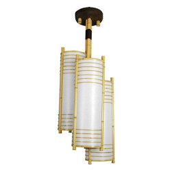 "Oriental Furniture - 41"" Kamakura Japanese Bamboo Hanging Lantern - An elegant overhead light fixture crafted with classic Japanese design elements, providing a distinctive Asian accent. The largest ceiling light in our extensive collection, it includes 3 light bulb sockets, great where substantial illumination is required. The elegant cylinder shapes and ringed lattice design create a uniquely beautiful Japanese style light fixture. This fixture is shipped with two sets of hardware: for a hanging lantern, with the light switch built into the power cord, and for professional installation directly into the ceiling by an electrician."