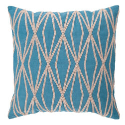 "Surya - Surya COM-022 Daring Diamond Pillow, 22"" x 22"", Down Feather Filler - This pillows vibrant geometric design is bound to make a style statement in your room. The tantalizing blue backdrop permits the organic shapes to splash into your space, opening up the room and constructing a sense of modern magic you've been searching for. This pillow contains a zipper closure and provides a reliable and affordable solution to updating your home's decor. Genuinely faultless in aspects of construction and style, this piece embodies impeccable artistry while maintaining principles of affordability and durable design, making it the ideal accent for your decor."