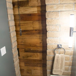 Sliding Barn Door - (2) Reclaimed Tobacco Barn Brown Barn Doors - -Living Room / Bathoom *Inner View* / Door Closed-