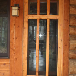Custom wood screen door custom wood screen door built to for Entry door with built in screen