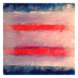 White Space/Red Lines, Original, Painting - This is an ordered gestural stripe work.