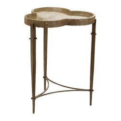 Hooker Furniture - Melange Clover Accent Table - White glove, in-home delivery!  For this item, additional shipping fee will apply.  Crushed shells give a natural glow to the Clover Accent Table, sure to add character to your space.
