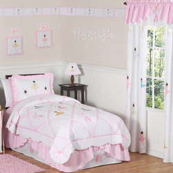 Sweet Jojo Designs - Sweet Jojo Designs Girls 4-piece Ballet Dancer Twin Comforter Set - The Sweet Jojo Designs 4-piece ballerina bedding set has everything that your sweet one needs to drift off into a dancing dreamland. This pretty in pink ballet theme set uses a charming combination of 100-percent cotton adorned with satin ribbons.