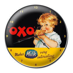 The Vintage Sign Store - OXO Clock - OXO Milk Flavor Vintage Metal Clock Home Kitchen Food 14 X 14 Steel Not Tin. This OXO clock measures 14 inches by 14 inches and weighs in at 3 lb(s). This clock is hand made in the USA using heavy gauge american steel and a process known as sublimation, where the image is baked into a powder coating for a durable and long lasting finish. This clock includes an American made quartz clock movement (requires one AA battery) for years of accurate time keeping and is covered with a clear acrylic lens.