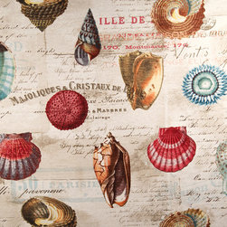 Shell fabric French letters document print travel - A shell fabric with the interest of French letters. A shell document print fabric with the look of a vintage fabric. This is one of the most unique shell fabrics we have seen, and it is gorgeous!