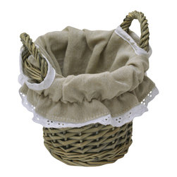 Willow Tote Basket with Handles Washed Grey/ Linen Liner - This tote basket is made of willow with two handles to allow easy lifting. It features an easy-to-wash beige linen liner and offers a stylish storage solution for towels, toys, blankets or anything else you need to organize. Wipe with a damp cloth. Diameter of 5.71-Inch and a height of 6.50-Inch. Color washed grey. This pretty willow tote basket will store your belongings in a natural style as well as being functional and will be a welcomed addition anywhere needed! Complete your decoration with other products of the same collection. Imported.