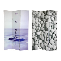 Oriental Unlimited - Double Sided 6 ft. Water Zen Canvas Privacy S - One double-sided divider, both sides shown in image. The images on this room divider cater to spas, massage therapists, aestheticians, salon owners and anyone wanting to add some zen and peacefulness to their space. The water drop and river rocks are simple, subtle imagery that make a beautiful decorative accent for any room. Carefully constructed reinforced wood frames- hardy, kiln dried Spruce- covered top to bottom, front, back, and on the edges. Simple, beautiful decorative art, with a vintage feeling. A strong durable and practical high quality room divider great for home, office or small business. Printed with high saturation ink to create a beautiful, long lasting, vivid image. Almost entirely opaque- very little light can pass through the double layer of canvas. Offering complete privacy, very tough and durable, yet light and portable. Great for dividing space, providing privacy, hiding unsightly areas or equipment, background for plants or sculptures or defining a cozy space. Each side has a different image. With a stretched poly-cotton blend canvas. Available in 3 panels only. Assembly required. Provides about 3.5 ft. of width displayed as shown